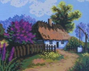 Needlepoint tapestry kit, HOUSE in a flowered garden, 24 x 30 cm, AR703