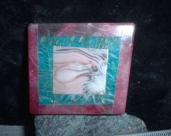 Intarsia  Labradorite center, framed in Green Amazonite, finished in Red Adventurine, Currently unset