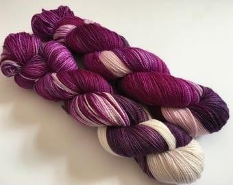 Blackberry Sorbet Hand Dyed Superwash Merino/ Nylon/ Stellina Sock Yarn