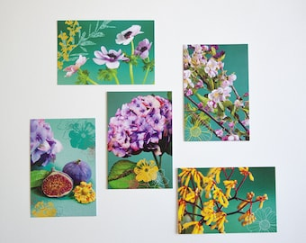 Set of 5 postcards, flowers and fruit green background