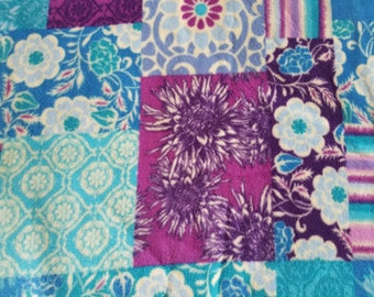 Floral Patchwork Fleece Fabric (1 yard 17 inches)