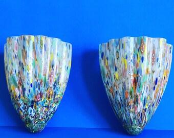 Venetian Glass Sconces - a Pair