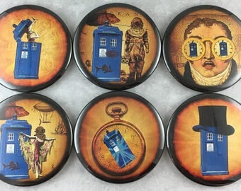 6 pcs, Doctor Who, Magnets, Buttons, 2.25 Inch Size, Tardis, Police Box, Weeping Angels, Sci Fi, Geeky Nerdy, Time Travel,Gift Set, Item #54