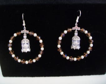 creole earrings silver and Brown