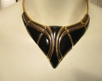 enamel bib choker necklace