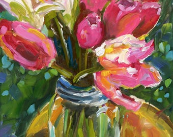THE GATHERING small original flower tulip oil painting by Jean Delaney size 6 x 8 inch on 1/8th inch gesso board