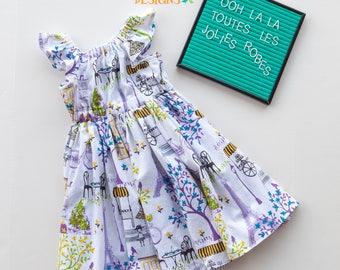 Paris Dress, Little Girl Dress, French Dress, Spring Dress, Eiffel Tower, Summer Dress, Baby Girl Dress, Toddler Dress, Flutter Sleeves