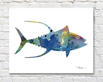 Yellowfin Tuna Fish Art Print - Abstract Watercolor Painting - Wall Decor