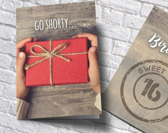 custom birthday card, custom anniversary card, sweet 16 card, 50th birthday card, create own card, ADD MY TEXT, bday personalized card