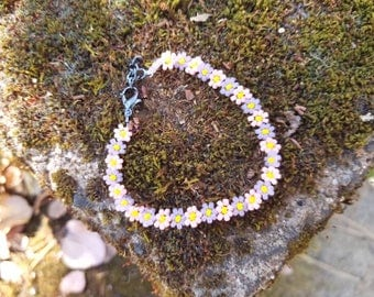 Sweet Pink and Lilac Daisy Bracelet