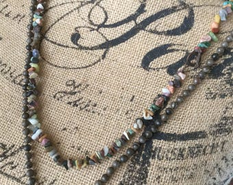 Earthy Necklace Gemstone Women's Necklace long necklace Rustic Necklace
