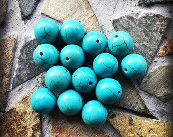 Blue Turquoise Round Drilled Beads (Set of 14) 10mm