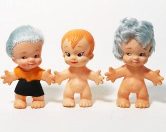 Lot of 3 Vtg Uneeda Petal People Dolls, Troll Wishnik Bodies 1964 & 1977