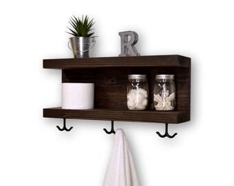 Two Tier Floating Bathroom Shelf 3 Hooks