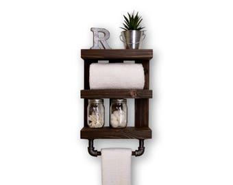 Three Tier Bathroom Shelf with Towel Bar