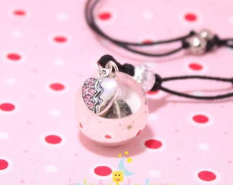Pregnancy's Bola harmonyball pink genuine little Rhinestone Heart Charm