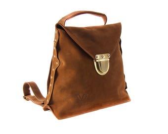 Women Backpack, Brown Leather Backpack, Leather Tote Bag, Cross Body Bag, Shoulder Bag, Women Bag, Laptop Bag, Smart Bag