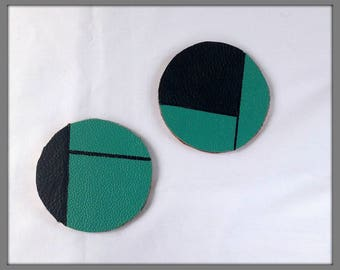 Upcycled leather coaster, Two tone coasters, Leather and cork recycled drinks mats, Geometric design, Set of 2 coasters