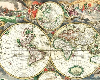Old world map laminated placemat