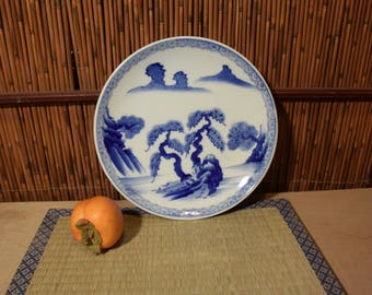 Antiques Japanese Blue And White Imari Porcelain Charger Plate Handpainted Landscape Scenery 10 Inches