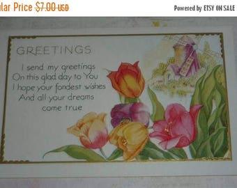 ON SALE till 6/30 Tulips and Windmill Vintage Art Deco Greetings Postcard Unused
