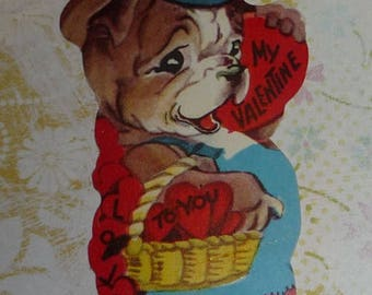 ON SALE till 7/28 Cute  Dressed Bulldog  With Basket of Hearts Vintage Valentine