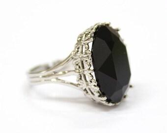 gothic wedding ring alternative engagement ring antique silver black swarovski crystal stone - Gothic Wedding Ring
