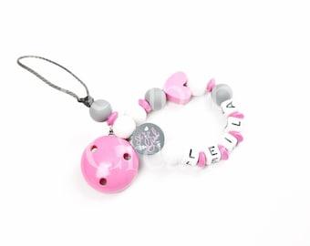 "Pacifier clip personalized silicone beads - model ""Leïla"""