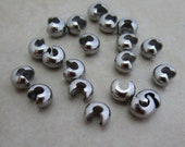 40 stainless steel crimp bead knot covers small 3mm smooth