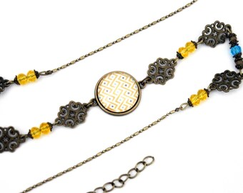 "Cabochon ""turquoise and yellow braid"" headband - headband retro vintage glass brass bronze"