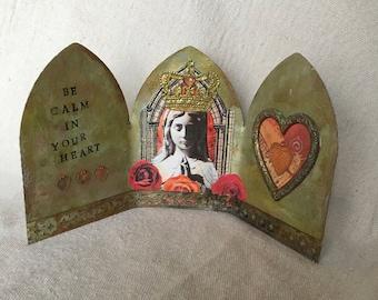 Beautiful Virgin Mary Triptych Shrine   Virgin Mary Art   Catholic Art    Religious Art
