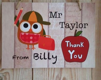 Teachers thank you personalised plaque