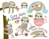 Sloth Clipart Cute Sloth Clip Art Baby Sloth on Tree Branch Clipart Sleeping Sloth Sloth Face Clipart Funny Sloth Coffee Clipart Clip Art