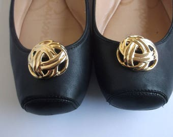 Vintage Gold Plate Round Shoe Clips, Update your Pumps or Flats with Gold Plate Shoe Clips