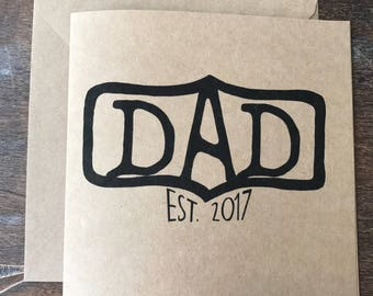"""Custom Father's Day card """"DAD Est. ____"""" with Year"""