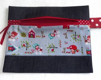 Small cosmetic clutch bag - Jeans / Red
