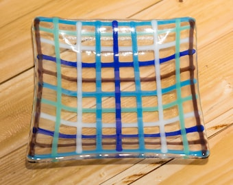 Fused Glass Patterned Square Bowl