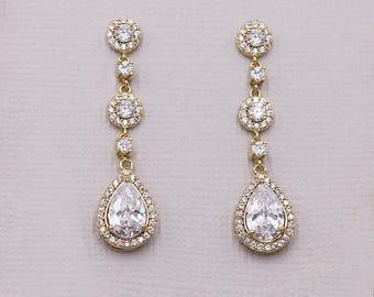 Gold Wedding earrings, Gold bridal earrings, tear drop pear cubic zirconia earrings dangle earring, Adeline Gold Earrings