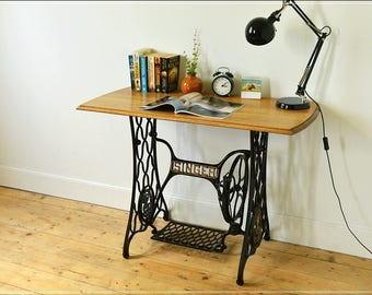 SOLD SOLD SOLD laptop desk / console table, on cast iron Singer frame, solid oak top reclaimed