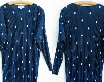 Vintage Navy Polka Dot Top Pleated Tunic Blue White Polka Dot Blouse Long Sleeve Navy Pleated Blouse Large Size XL Size