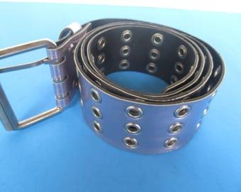 Wide Woman Belt  - Silver Belt - size L  -- 38'' long - Faux Leather Belt
