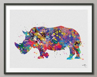Rhinoceros Art Watercolor Print Rhino Print Watercolor Wall Art Wall Decor Art Home Decor Travel Wildlife Safari Gift Wall Hanging [No 779]