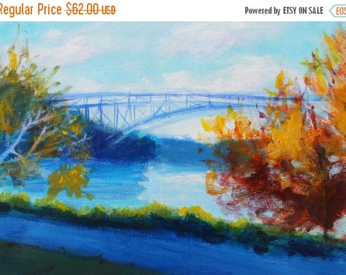 SALE Wall Art-Fall Manhattan Park Original Painting-Gift