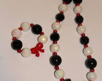 Semi-Annual SALE Cruella DeVille Inspired Chunky Necklace and Bracelet Set - JTJ15133