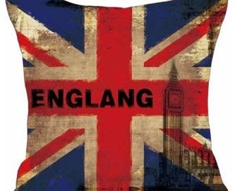 Vintage Grunge Style England British Flag with Big Ben - Pillow Cover
