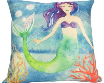 Watercolor Mermaid Floating in the Sea - Pillow Cover