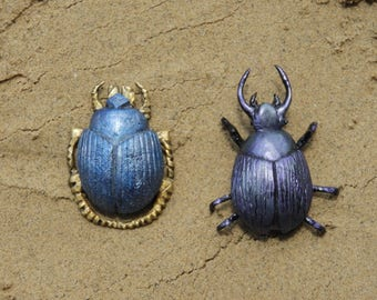 The Mummy Scarab Beetle Set of 2 Living and Blue Gold Variations
