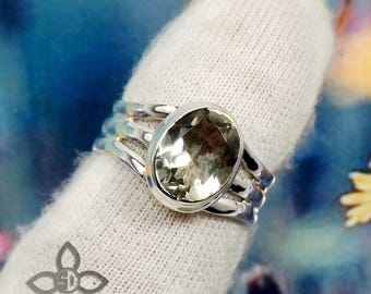 Green Amethyst Ring, Green Amethyst Stone, Green Amethyst Jewellery, 925 Sterling Silver, Handmade Ring, Unique Ring, Engagement Ring