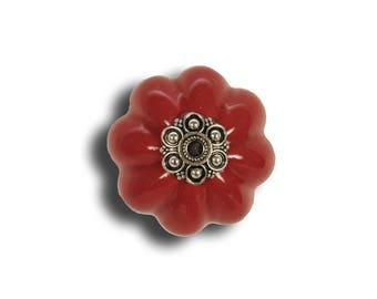 Beautiful vermilion ceramic door knob