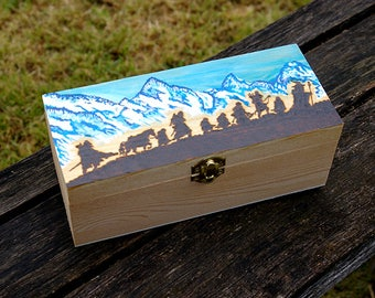 Lord of the Rings inspired hand painted pyrography art box